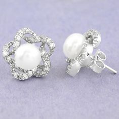 Natural white pearl topaz 925 sterling silver stud earrings jewelry c25455