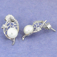 Natural white pearl topaz 925 sterling silver stud earrings jewelry c25507