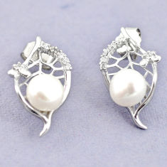 Natural white pearl topaz 925 sterling silver stud earrings jewelry c25517