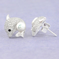 Natural white pearl topaz 925 sterling silver stud earrings jewelry c25522
