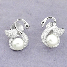 Natural white pearl topaz 925 sterling silver stud earrings jewelry c25538