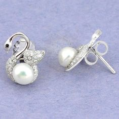 Natural white pearl topaz 925 sterling silver stud earrings jewelry c25542