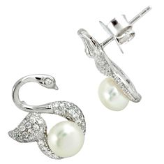 Natural white pearl topaz 925 sterling silver stud earrings jewelry c25546