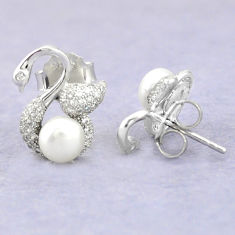 Natural white pearl topaz 925 sterling silver stud earrings jewelry c25549