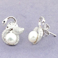 Natural white pearl topaz 925 sterling silver stud earrings jewelry c25551