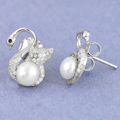 Natural white pearl topaz 925 sterling silver stud earrings jewelry c25552