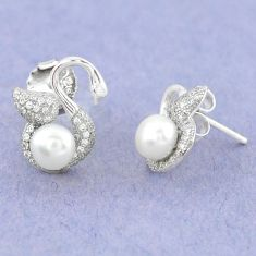 Natural white pearl topaz 925 sterling silver stud earrings jewelry c25555