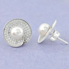 Natural white pearl topaz 925 sterling silver stud earrings jewelry c25623