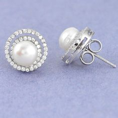 Natural white pearl topaz 925 sterling silver stud earrings jewelry c25691