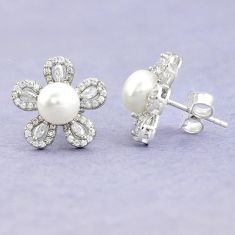 Natural white pearl topaz 925 sterling silver stud earrings jewelry c25694