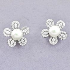 Natural white pearl topaz 925 sterling silver stud earrings jewelry c25698