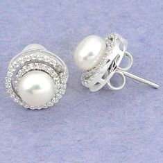 Natural white pearl topaz 925 sterling silver stud earrings jewelry c25699