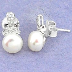 Natural white pearl topaz 925 sterling silver stud earrings jewelry c25712