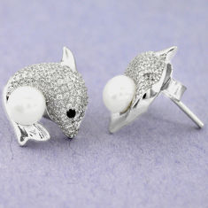 Natural white pearl topaz 925 sterling silver stud fish earrings jewelry c25456