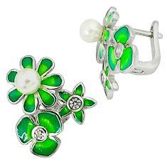 Natural white pearl topaz enamel 925 silver stud flower earrings jewelry c16554