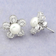 Natural white pearl topaz round 925 sterling silver stud earrings c25452