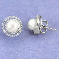 Natural white pearl topaz round 925 sterling silver stud earrings c25683