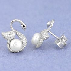 Natural white pearl topaz round 925 sterling silver stud earrings jewelry c25543