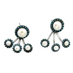 6.83cts natural white pearl turquoise 925 sterling silver earrings c26369