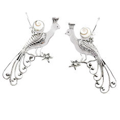 2.19cts natural white shiva eye 925 silver dangle peacock charm earrings r67849