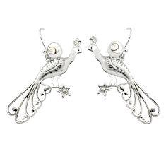2.28cts natural white shiva eye 925 silver dangle peacock charm earrings r67850