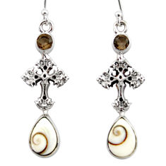 6.58cts natural white shiva eye 925 silver holy cross earrings jewelry r51517