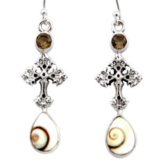 6.74cts natural white shiva eye 925 silver holy cross earrings jewelry r51519