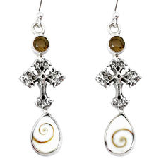 7.89cts natural white shiva eye 925 silver holy cross earrings jewelry r74886