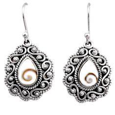 4.72cts natural white shiva eye 925 sterling silver dangle earrings r54122