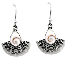 4.46cts natural white shiva eye 925 sterling silver dangle earrings r54186