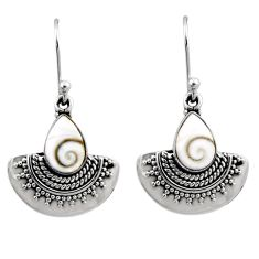 4.47cts natural white shiva eye 925 sterling silver dangle earrings r54187