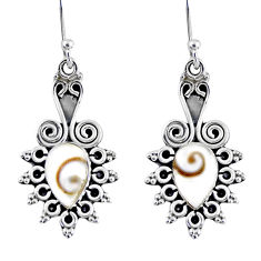4.06cts natural white shiva eye 925 sterling silver dangle earrings r55207