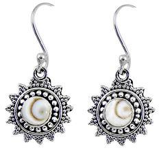 1.79cts natural white shiva eye 925 sterling silver dangle earrings r55231