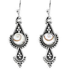 1.63cts natural white shiva eye 925 sterling silver dangle earrings r59530