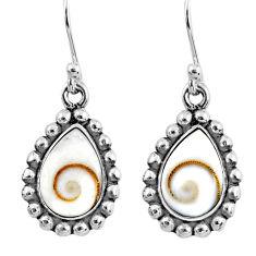 5.38cts natural white shiva eye 925 sterling silver dangle earrings r60490