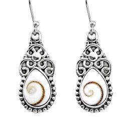 4.92cts natural white shiva eye 925 sterling silver dangle earrings r60548
