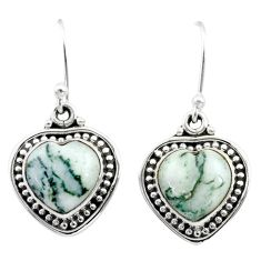 8.53cts natural white tree agate 925 sterling silver dangle earrings t41501