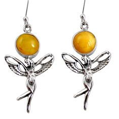 Clearance Sale- 7.60cts natural yellow amber bone 925 silver angel wings fairy earrings d40518