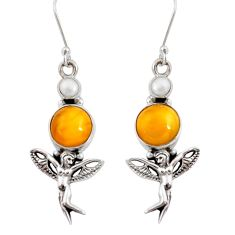 Clearance Sale- 8.14cts natural yellow amber bone 925 silver angel wings fairy earrings d40520
