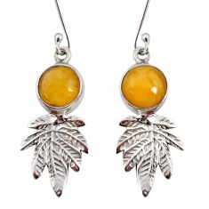 Clearance Sale- 7.50cts natural yellow amber bone 925 silver deltoid leaf earrings d40517