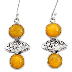 Clearance Sale- 12.07cts natural yellow amber bone 925 sterling silver dangle earrings d40516