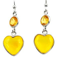 Clearance Sale- 6.33cts natural yellow amber bone citrine 925 silver heart earrings d39916