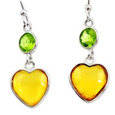 Clearance Sale- 6.94cts natural yellow amber bone peridot 925 silver dangle earrings d45791