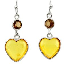 Clearance Sale- 6.33cts natural yellow amber bone smoky topaz 925 silver heart earrings d39915