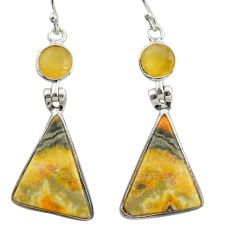 15.93cts natural yellow bumble bee australian jasper 925 silver earrings r41139