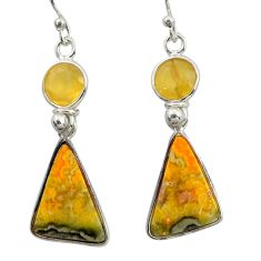 11.45cts natural yellow bumble bee australian jasper 925 silver earrings r41140