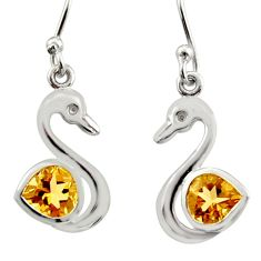 2.60cts natural yellow citrine 925 silver dangle duck charm earrings d40075