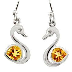 2.72cts natural yellow citrine 925 silver dangle duck charm earrings d40076