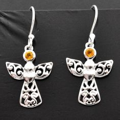 0.72cts natural yellow citrine 925 sterling silver birds charm earrings d40179