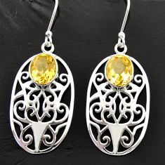 6.55cts natural yellow citrine 925 sterling silver dangle earrings d40037